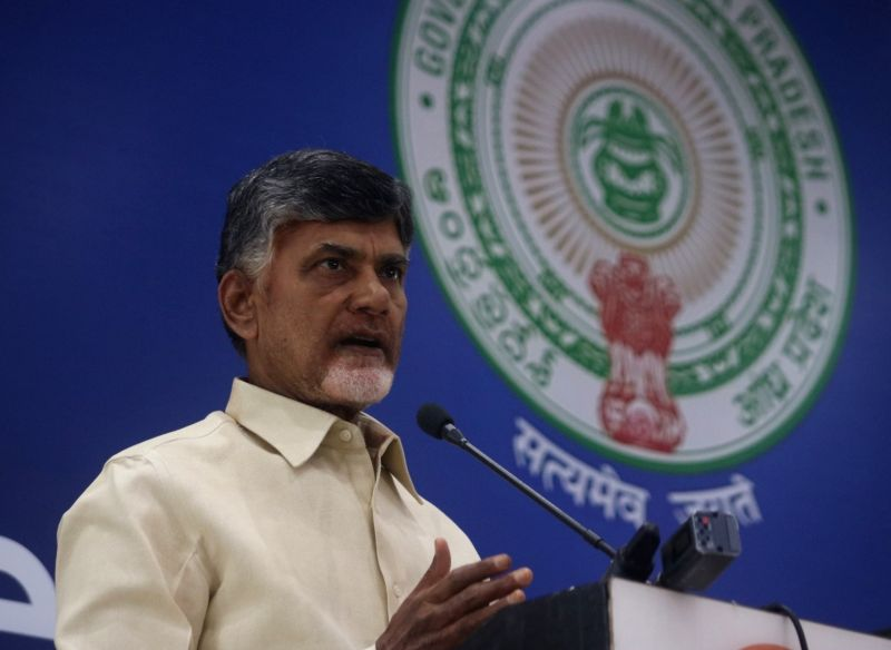 : New Delhi: Andhra Pradesh Chief Minister and Telugu Desam Party leader N. Chandrababu Naidu addresses a press conference, in New Delhi on April 4, 2018. (Photo: IANS).