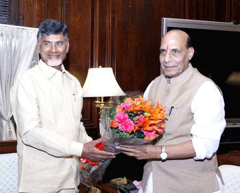 Andhra Pradesh Chief Minister N. Chandrababu Naidu calls on the Union Home Minister Rajnath Singh, in New Delhi on June 10, 2015. - N. Chandrababu Naidu