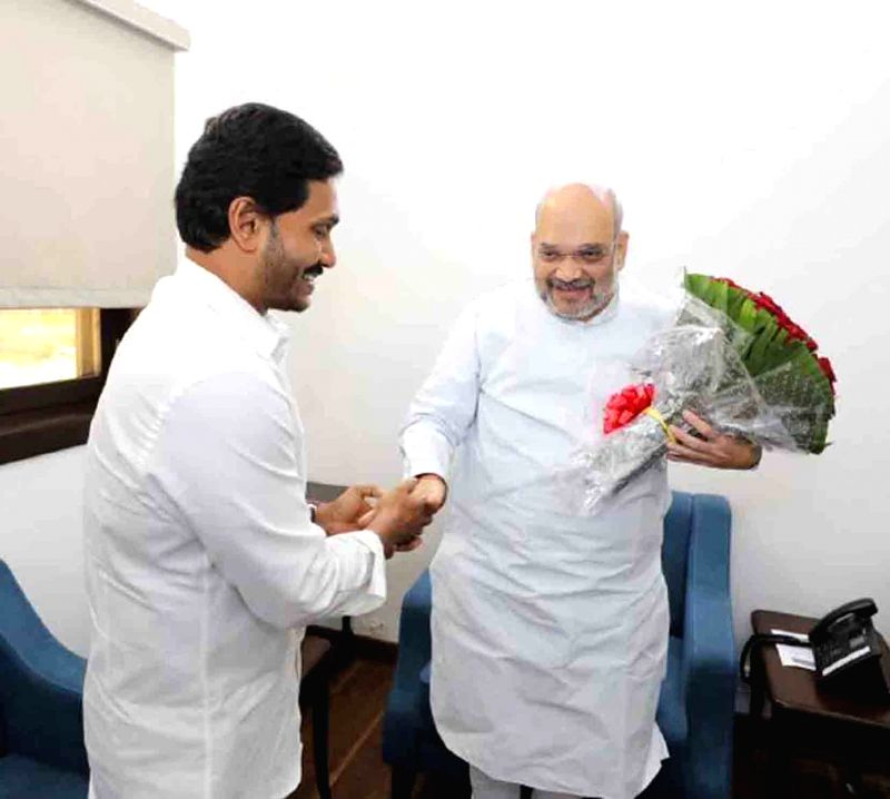 New Delhi: Andhra Pradesh Chief Minister Y.S. Jagan Mohan Reddy meets Amit Shah and extends greetings on his birthday, in New Delhi on Oct 22, 2019. (Photo: IANS)