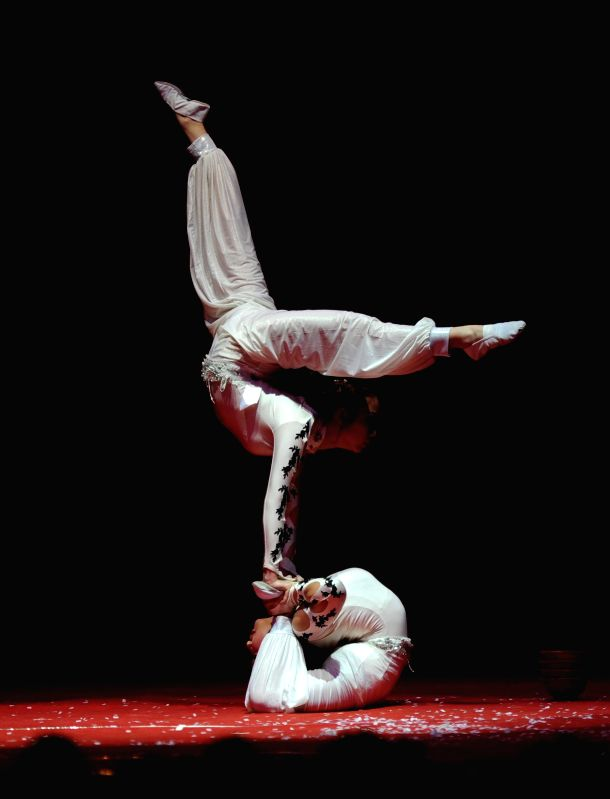 Artists of Guangzhou Acrobatic Arts Theater perform during an acrobatic performance organised by the Chinese Embassy (New Delhi) and India China Economic and Cultural Council at Siri Fort ...