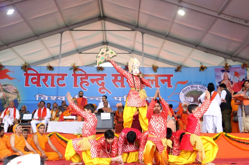 Artists perform during VHP's Virat Hindu Sammelan organised at Jawaharlal Nehru Stadium of New Delhi, on March 1, 2015.