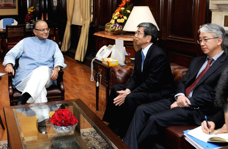 Asian Development Bank (ADB) President Takehiko Nakao meets the Union Minister for Finance, Corporate Affairs and Information and Broadcasting Arun Jaitley, in New Delhi on Feb 5, 2015.