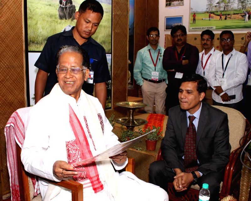 Assam Chief minister Tarun Gogoi at the valedictory session of Global Exhibition on Services in New Delhi, on April 25, 2015. - Tarun Gogoi