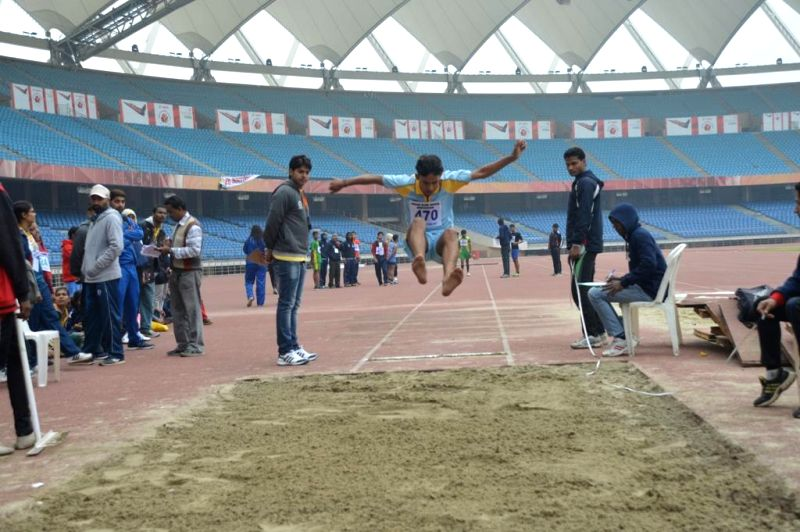 Athletes participate in the National Sports Meet for the Blind in New Delhi on Dec 14, 2014.