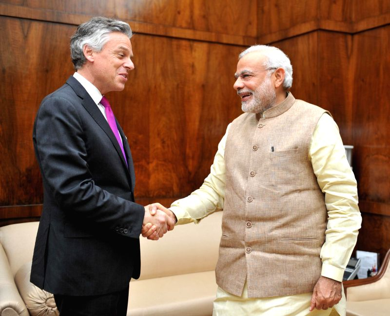 Atlantic Council Chairman John Huntsman calls on the Prime Minister Narendra Modi, in New Delhi on March 17, 2015. - Narendra Modi