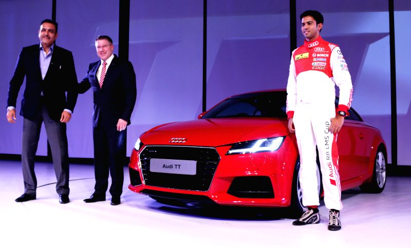Audi India Head, Joe King and Indian cricket Team Director Ravi Shastri during the launch of new third generation Audi TT in New Delhi, on April 23, 2015.
