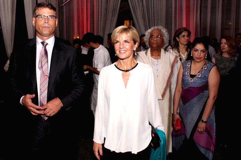 Australian Minister for Foreign Affairs Julie Bishop and  Australian High Commissioner Patrick Suckling at a fashion show by designers Timothy Everest Rajesh Pratap Singh and Suket Dhir at ...