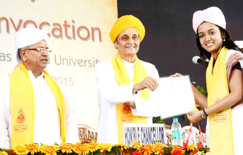 Banaras Hindu University Chancellor  Dr Karan Singh and Vice-Chancellor Prof G C Tripathi during the 97th Convocation of the university on April 27, 2015. - Karan Singh