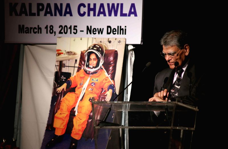 Banarasi Lal Chawla, the father of famous Indian astronaut Kalpana Chawla addresses during a programme organised to confer Kalpan Chawal Excellence Award 2015 at the India Islamic Cultural ...
