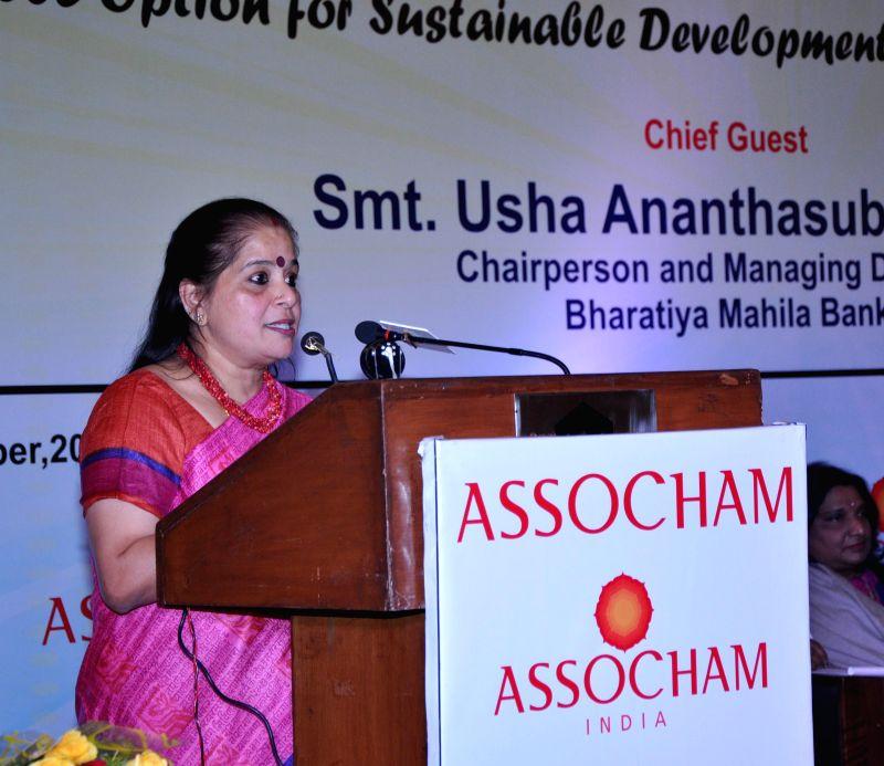 Bharatiya Mahila Bank CMD Usha Ananthasubramanian addresses at an ASSOCHAM Summit on `Leveraging the Jan Dhan Yojana: A Viable Option for Sustainable Development of Women Entrepreneurship`