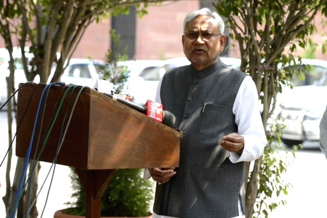Bihar Chief Minister Nitish Kumar addresses press after meeting Prime Minister Narendra Modi in New Delhi, on March 26, 2015. - Narendra Modi