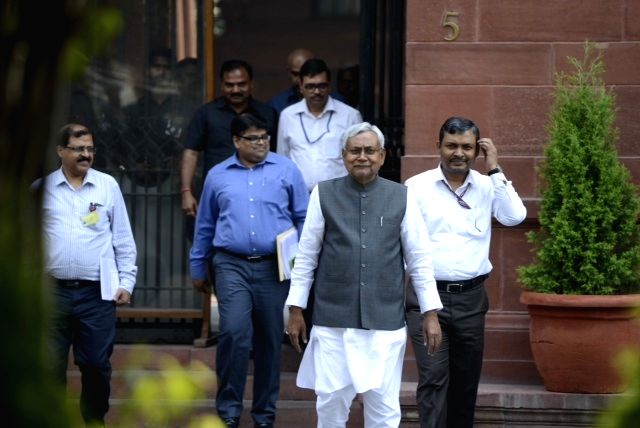 Bihar Chief Minister Nitish Kumar after meeting Prime Minister Narendra Modi in New Delhi, on March 26, 2015. - Narendra Modi