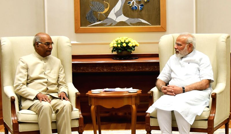 New Delhi: Bihar Governor Ram Nath Kovind and the Presidential candidate of the ruling National Democratic Alliance (NDA) meets Prime Minister Narendra Modi in New Delhi on June 19, 2017. (Photo: IANS/PIB)