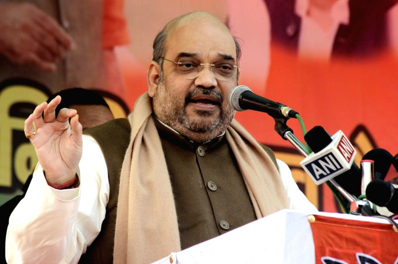 BJP chief Amit Shah addresses a party rally in New Delhi, on Jan 25, 2015. 