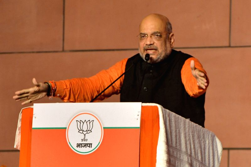 New Delhi: BJP chief Amit Shah addresses at party headquarters in New Delhi on May 23, 2019.