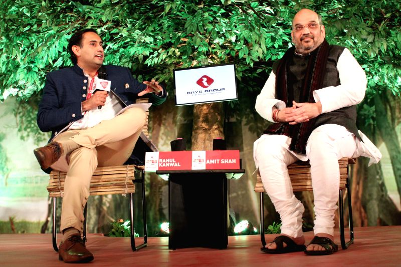 BJP Chief Amit Shah during a programme organised by Aaj Tak in New Delhi, on Dec 12, 2014. 