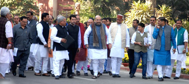 BJP chief Amit Shah with BJP leaders in New Delhi, on Dec 2, 2014.