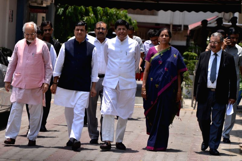 New Delhi: BJP delegation led by Union Ministers Piyush Goyal and Nirmala Sitharaman, comes out after meeting the Chief Election Commissioner (CEC) in New Delhi, on May 20, 2019. (Photo: IANS)