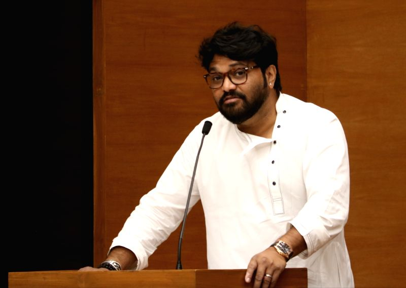 New Delhi: BJP leader Babul Supriyo addresses during a programme at party's headquarter, in New Delhi, on May 5, 2019.