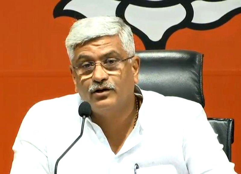 New Delhi: BJP leader Gajendra Singh Shekhawat addresses a press conference at the party's headquarter, in New Delhi on Sept 20, 2018. (Photo: IANS/BJP)