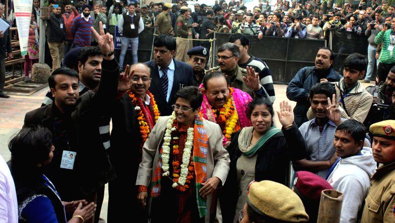 BJP leader Kiran Bedi  arrives to file her nomination papers for upcoming Delhi assembly polls at Krishna Nagar, Delhi on Jan 21, 2015.