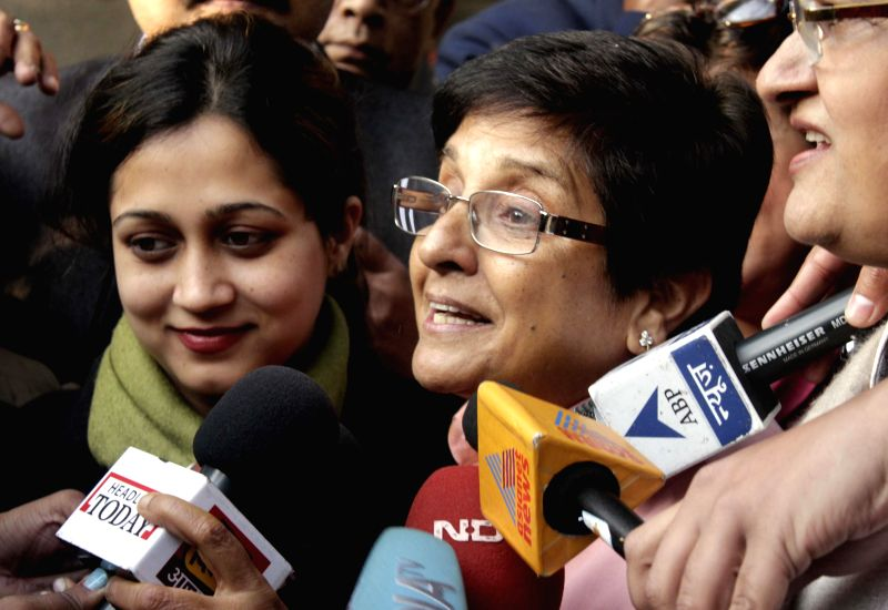 BJP leader Kiran Bedi at a polling station in New Delhi on Feb. 7, 2015.