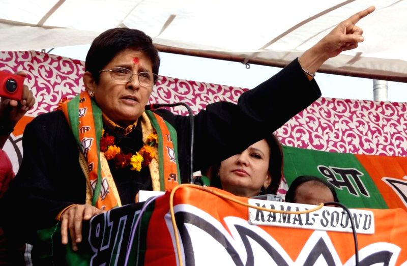 BJP leader Kiran Bedi during an election rally in New Delhi on Jan. 27, 2014.