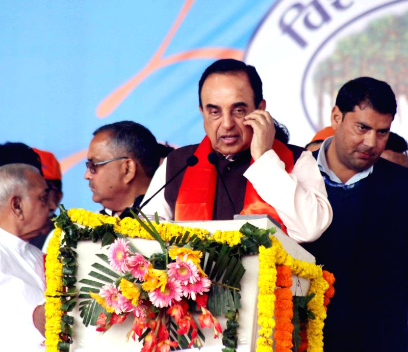 BJP leader Subramanian Swamy addresses at the Virat Hindu Sammelan organised by VHP in Jawaharlal Nehru Stadium of New Delhi, on March 1, 2015.
