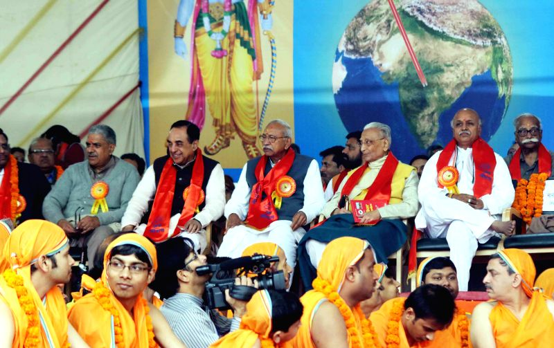 BJP leader Subramanian Swamy, VHP leader Praveen Togadia and others during VHP's Virat Hindu Sammelan at the Jawaharlal Nehru Stadium in New Delhi, on March 1, 2015.