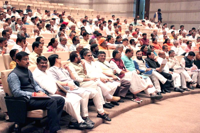 BJP leaders during the BJP parliamentary party meeting at Parliament library on April 28, 2015.