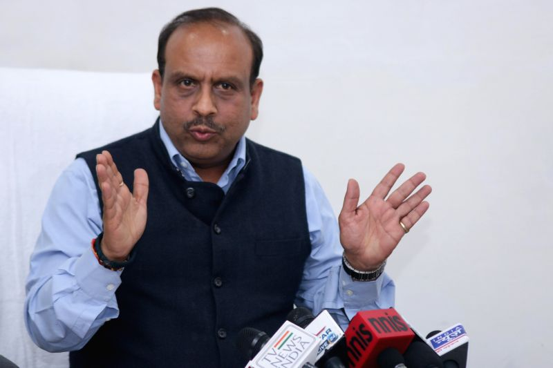 BJP legislator and the leader of opposition in the Delhi Assembly Vijender Gupta addresses a press conference in Delhi Legislative Assembly  on March 20, 2015. - Assembly Vijender Gupta