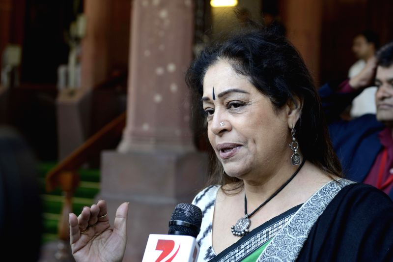 BJP MP and actress Kirron Kher  at the Parliament during the budget session in New Delhi, on March 4, 2015. - Kirron Kher