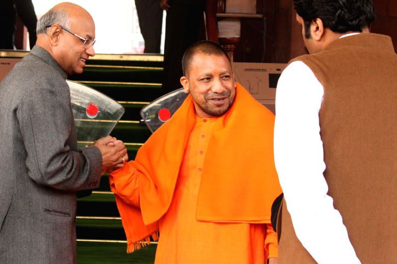 BJP MP from Gorakhpur Yogi Adityanath at the Parliament premises in New Delhi, on Dec 15, 2014.