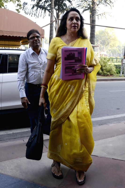 BJP MP from Mathura actress Hema Malini at the Parliament premises in New Delhi on Dec 4, 2014. - Hema Malini