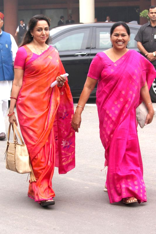 BJP MP from Mathura Hema Malini at the Parliament on the second day of the budget session in New Delhi, on Feb 24, 2015. - Hema Malini