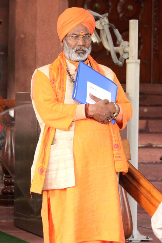 BJP MP from Unnao Sakshi Maharaj at the Parliament premises in New Delhi, on Dec 16, 2014.