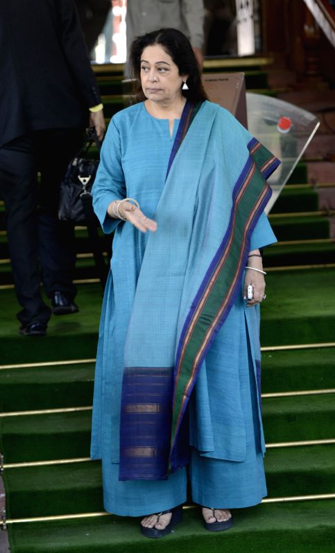 BJP MP Kirron Kher at the Parliament in New Delhi on March 19, 2015. - Kirron Kher