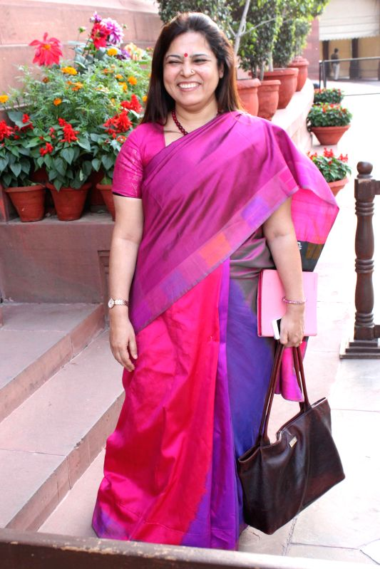 BJP MP Meenakshi Lekhi at the Parliament in New Delhi, on March 12, 2015.