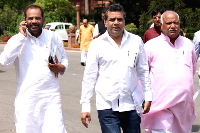 BJP MP Paresh Rawal at the Parliament in New Delhi, on April 28, 2015.