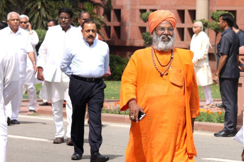 BJP MP Sakshi Maharaj at the Parliament in New Delhi, on April 21, 2015.
