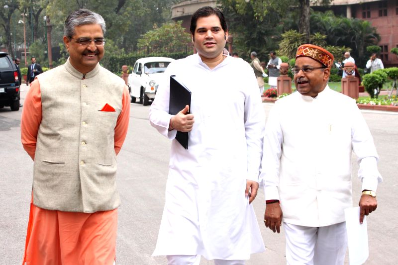 BJP MP Varun Gandhi and others arrives at the Parliament to attend BJP parliamentary party meeting in New Delhi, on March 3, 2015. - Varun Gandhi