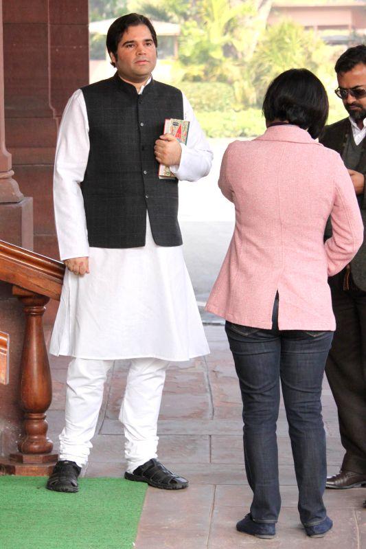 BJP MP Varun Gandhi at the Parliament premises in New Delhi, on Dec 16, 2014. - Varun Gandhi