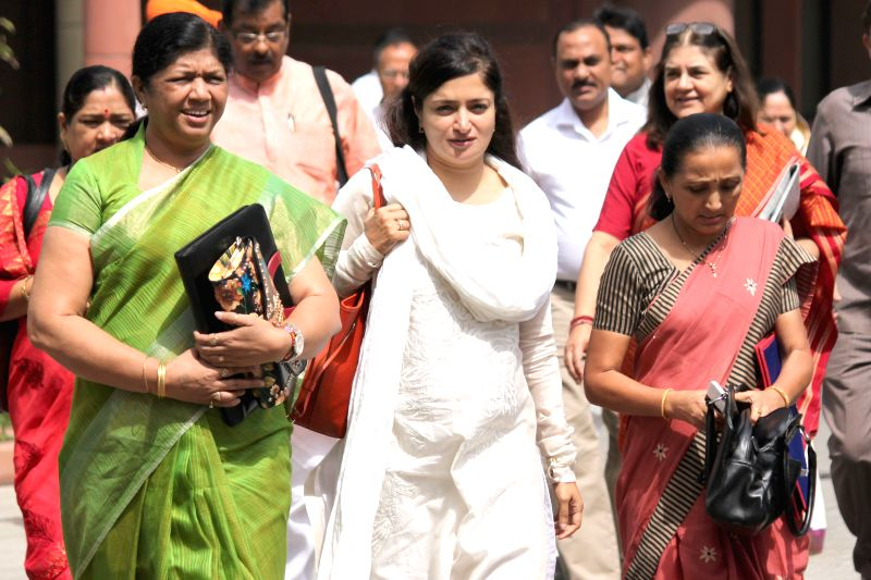 BJP MPs at the Parliament in New Delhi, on April 21, 2015.