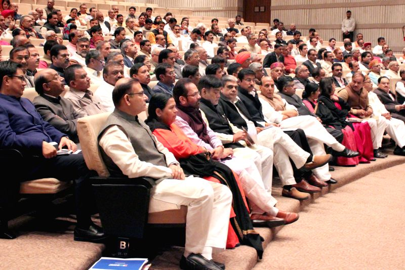 BJP MPs during the the BJP parliamentary party meeting at Parliament library in New Delhi, on March 3, 2015.