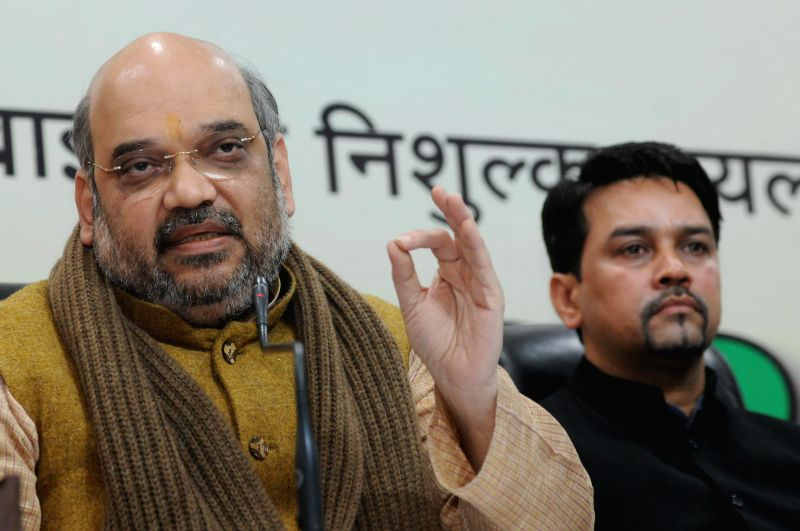 New Delhi BJP president Amit Shah addressing a gathering of businessmen who joined BJP  at party headquarters in New Delhi on Feb. 2015.