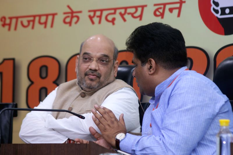 BJP president Amit Shah during a programme at party office in New Delhi on April 13, 2015.