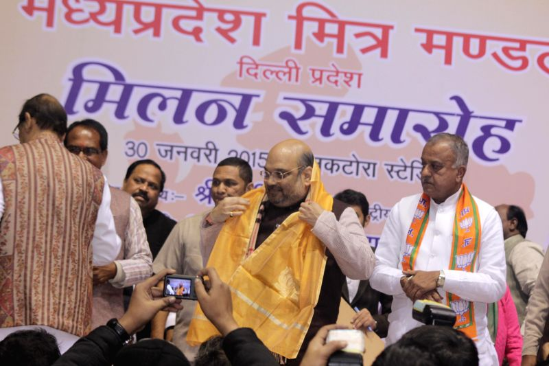 BJP president Amit Shah during a public rally at Talkatora Stadium in New Delhi on Jan. 30, 2015.