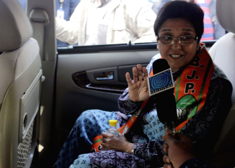 BJP`s Chief Ministerial candidate for Delhi Kiran Bedi addresses a press conference at BJP Headquarter in New Delhi on Feb. 5, 2015.