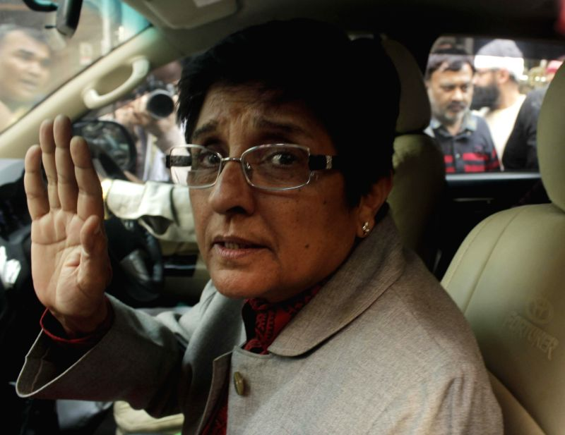 BJP's chief ministerial candidate for Delhi Kiran Bedi leaves after meeting lawyers in Krishna Nagar of Delhi on Feb 6, 2015.