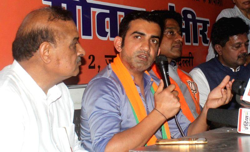 New Delhi: BJP's Lok Sabha candidate from East Delhi, Gautam Gambhir addresses a press conference in New Delhi, on April 25, 2019.